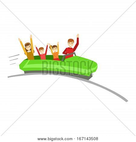Parent And Kids On Rollercoaster Ride In Amusement Park, Happy Family Having Good Time Together Illustration. Household Members Enjoying Spending Time Together Vector Cartoon Drawing.