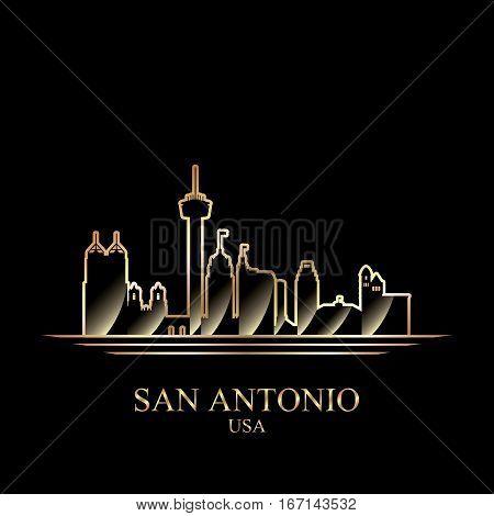 Gold Silhouette Of San Antonio On Black Background