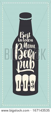 banner for beer pub with a bottle in a retro style