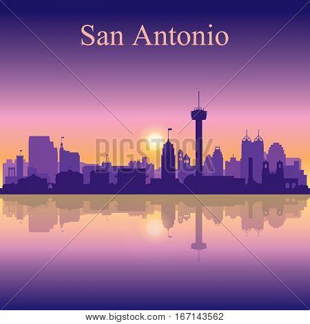 San Antonio Silhouette On Sunset Background