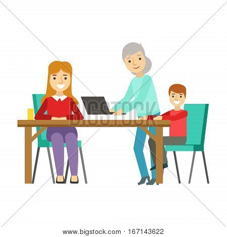 Mother, Kid And Grandma Using Computer, Happy Family Having Good Time Together Illustration. Household Members Enjoying Spending Time Together Vector Cartoon Drawing.