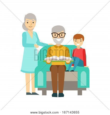 Grandparents And Boy Reading A Book, Happy Family Having Good Time Together Illustration. Household Members Enjoying Spending Time Together Vector Cartoon Drawing.