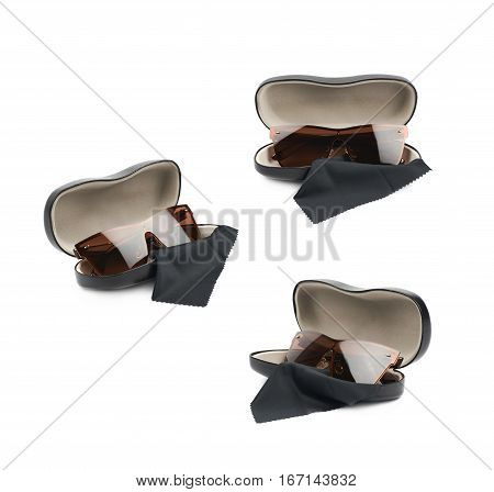 Black leather protection case box with the glasses over it, composition isolated over the white background, set of three different foreshortenings