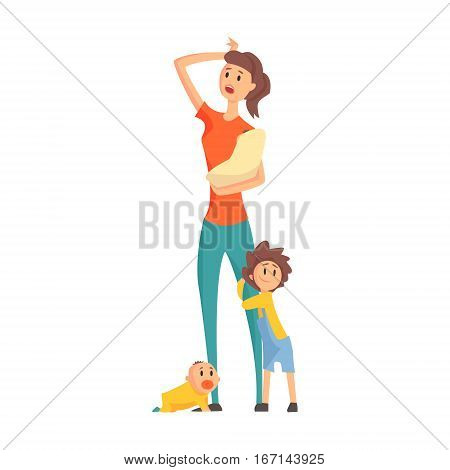 Mother With A Baby In Arms With Two Other Children Next To Her Legs, Part Of Family Members Series Of Cartoon Characters. Vector Illustration With A Person In Summer Clothes In Flat Cool Style.