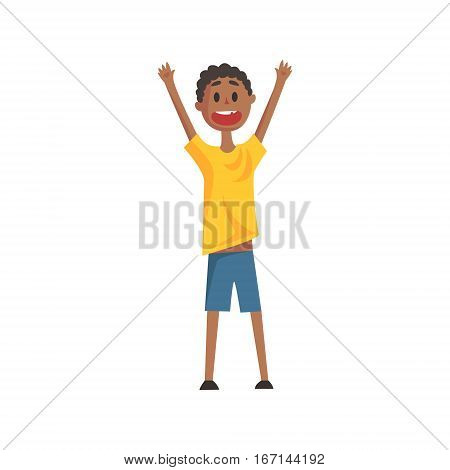 Happy Smiling Black Boy Screaming And Cheering, Part Of Family Members Series Of Cartoon Characters. Vector Illustration With A Person In Summer Clothes In Flat Cool Style.