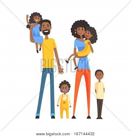 Big Family With Parents And Four Kids, Part Of Family Members Series Of Cartoon Characters. Vector Illustration With A Person In Summer Clothes In Flat Cool Style.