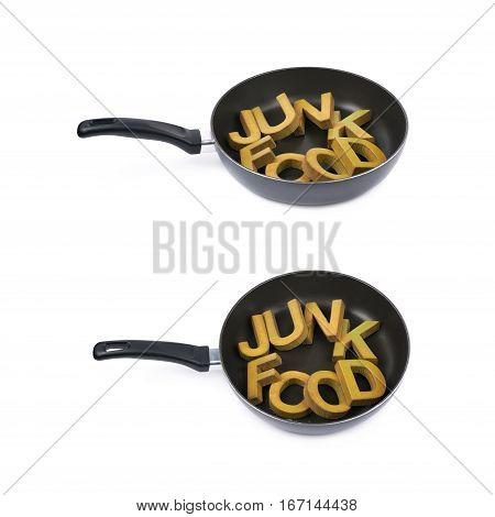 Words Junk Food made of colored wooden letters in a cooking pan, composition isolated over the white background, set of two different foreshortenings
