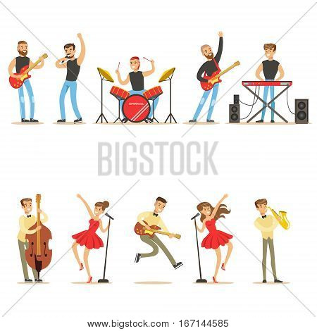 Artists Playing Music Instruments And Singing On Stage Concert Series Of Musicians Cartoon Vector Characters. Young People Musical Band Performing On Show Illustrations.
