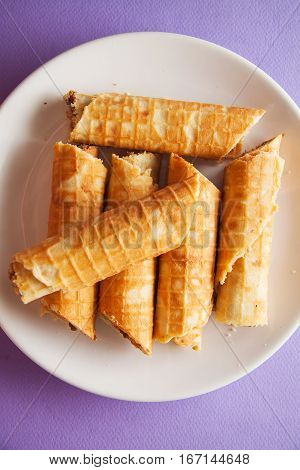 hot rolled viennese waffles on white plate