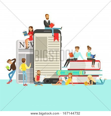 People Who Love To Read Reading Books Around Giant Electronic Book And Newspaper.Smiling Bookworm Characters Enjoying Their Leisure With Texts Vector Illustration.