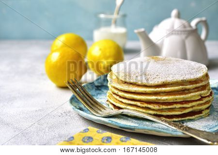 Lemon Pancakes With Poppy Seed.vintage Style.