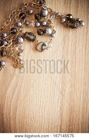 backgrund with black pearls and postcard for text