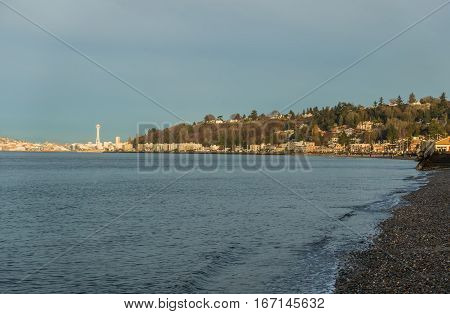 A view of Alki Beach in West Seattle.