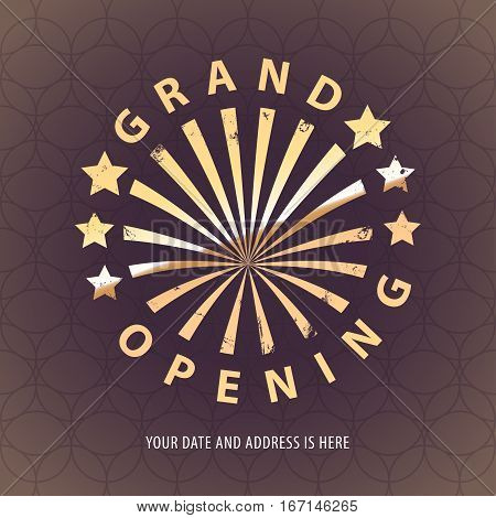 Grand opening vector banner, illustration. Round nonstandard design element with retro style gold color lettering for opening ceremony