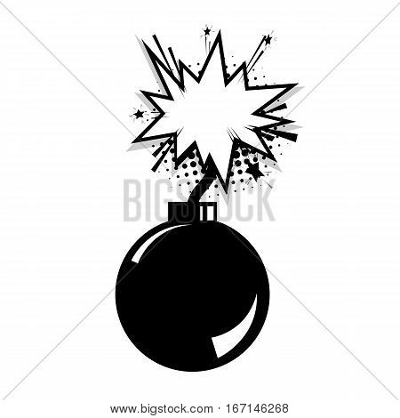 Dialog empty space. Blank bomb template comic text speech cloud bubble. Halftone dot background style pop art. Creative composition idea conversation comics book sketch explosion burst bomb