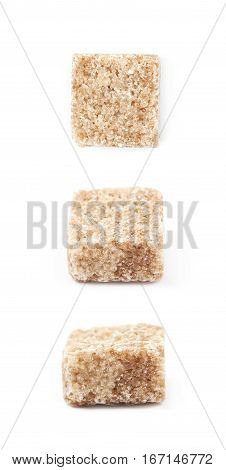 Single brown sugar cube isolated over the white background, set of three different foreshortenings