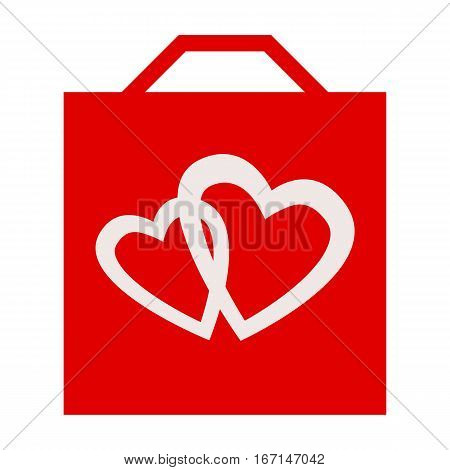 Valentine shopping bag with romantic loving hearts