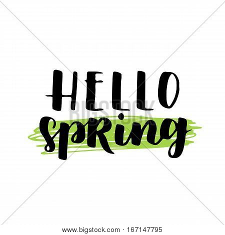 Vector Seasonal Greeting Card Of Hand-written Spring Brush Lettering. Spring Collection Black Ink An