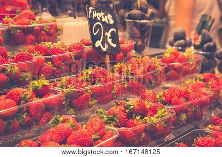 Fruits and vegetables stall in La Boqueria the most famous market in Barcelona.