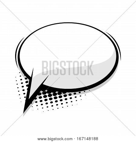 Creative idea conversation. Comics book sketch explosion sudden burst bomb. Blank template comic text speech oval bubble. Halftone dot background style pop art. Dialog empty box space.