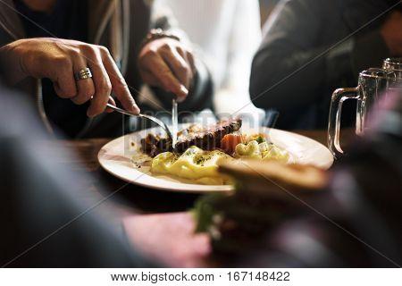 People Eat Food Meal Restaurant
