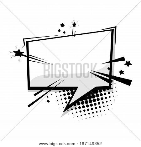 Blank template comic text speech square cloud bubble. Dialog empty box space. Halftone dot background style pop art. Comics book sketch explosion burst bomb