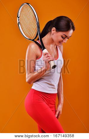 Young Woman In Sports Concept Isolated On The Yellow