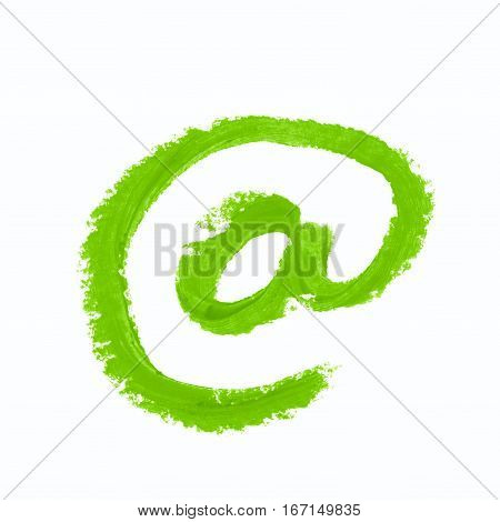 At mark internet symbol drawn with a wax crayon isolated over the white background
