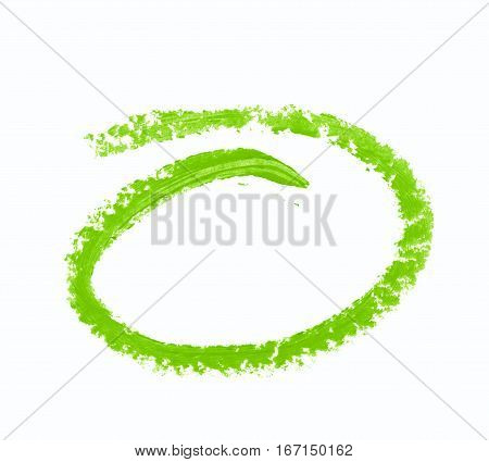 Round empty ellipse paint stroke as a design element, isolated over the white background