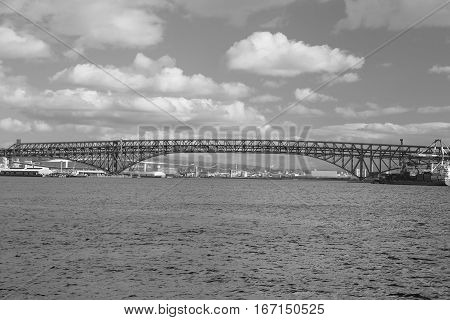 Black and White Minato Bridge over Osaka sea port Japan