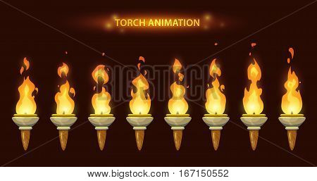 Cartoon torch animation frames set. Fire sprites set.