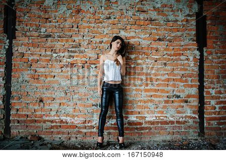 Portrait Of Young Cute Brunette Girl Background Brick Wall.