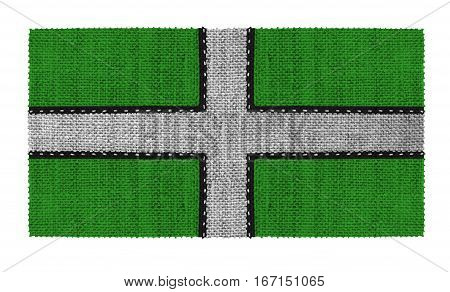 Flag of Devonshire in England. Made of several parts of white thread. Fabric with large texture.