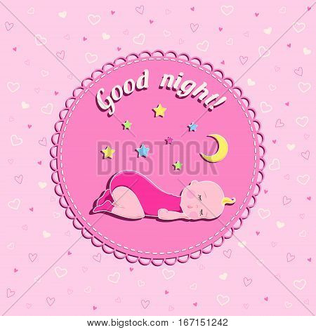 Funny vector card with sleeping baby moon and stars on pink background with hearts and text