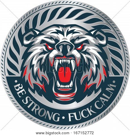 Furious angry face of terrible bear with open mouth and terrible teeth. Great for use as logo element icon as tattoo or as symbol of strength and aggressiveness. Be strong calm.
