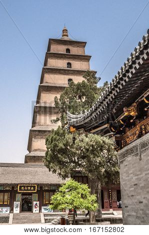 China Xi'an. Giant Wild Goose Pagoda is located in the Da Ci En Temple which was built in the middle of the seventh century.