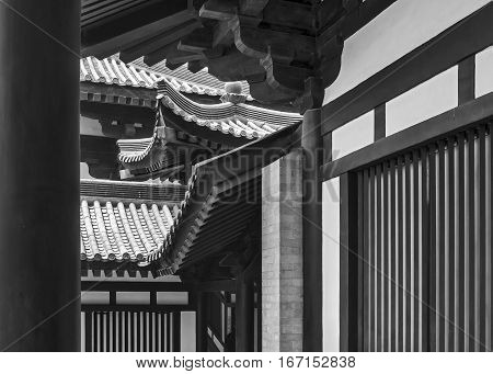 China, Xian, Da Ci En Temple, which was built in the middle of the seventh century. The severity of the lines and the magic of traditional Chinese architecture.