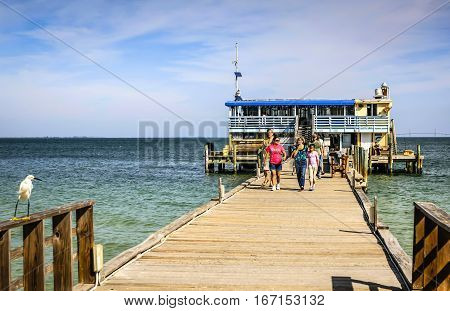 Anna Maria Island, FL, USA - December 20: People on the Rod & Reel Pier on Anna Maria Island in Florida