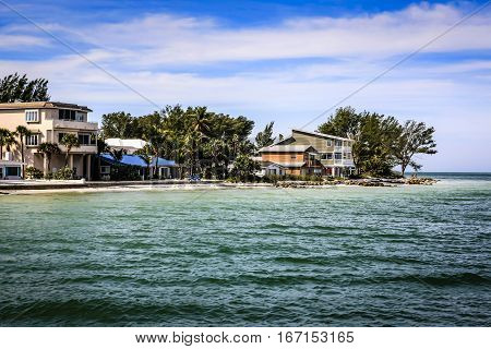 Anna Maria Island, FL, USA - December 20: Waterfront homes overlooking the Gulf of Mexico at Anna Maria Island Florida