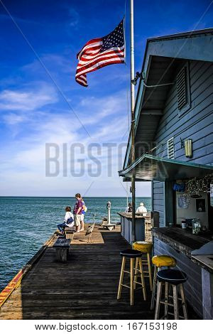 Anna Maria Island, FL, USA - December 20: People on the Anna Maria City Pier in Florida