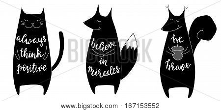 Set of three cute animals with motivation phrases. Brush hand lettering. Isolated vector illustration