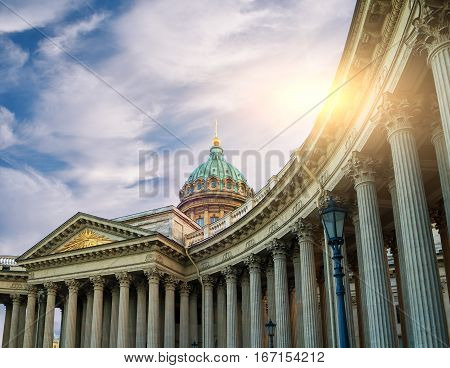 Kazan Cathedral in St Petersburg Russia - architecture landscape of St Petersburg, Russia. St Petersburg architecture landscape