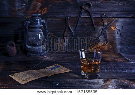 Original Kentucky bourbon in an old wooden workshop