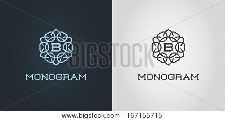 Set of Compact Monogram Design Template with Letter Vector Illustration Premium Elegant Quality