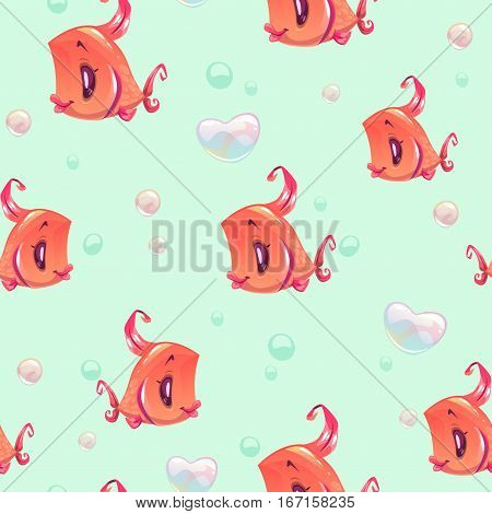 Cute girlish seamless pattern with funny red girl fishes and heart shape bubbles. Underwater cartoon texture.