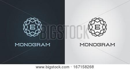 Set of Compact Monogram E Design Template with Letter Vector Illustration Premium Elegant Quality