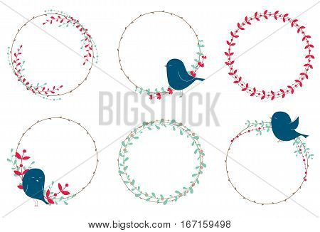 Vector rustic wreathes with birds, branches, leaves and berries.