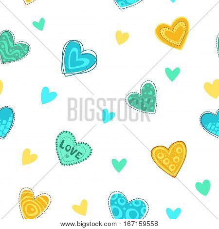 Funny girlish printable texture with cute hearts. Vector seamless pattern.
