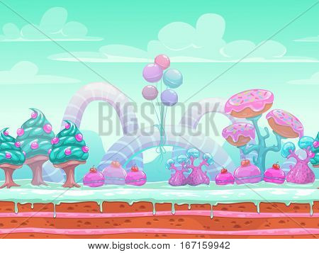Fantasy sweet world illustration. Candyland scene with cute blue, mint and pink elements, background for game or web design. Vector seamless landscape with separated layers for parallax in animation.