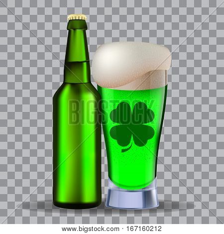 Glass and a brown bottle of beer isolated on transparency grid. Stock vector illustration. Green beer on st Patrick's Day